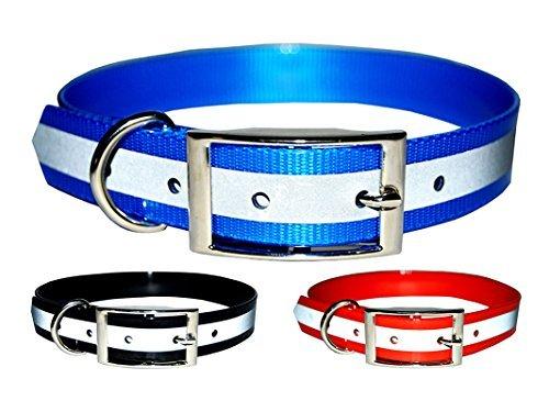 et Supply Hundehalsband, reflektierend, Dunkles Design, Robustes TPU-Sicherheitshalsband, geeignet für Hunde oder Katzen, Medium, blau ()