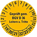 LEMAX® Prüfplakette Geprüft gem.BGV D36 19-24,gelb,Dokumentenfolie,Ø 30mm,18/Bogen