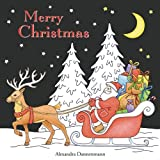 Merry Christmas: a beautiful colouring book with Christmas designs on a black background, for gloriously vivid colours