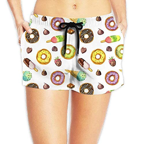 Eco Track Pant (Women's Girl Ice Cream Donuts Summer Casual Shorts Beach Swim Trunks Pants X-Large)