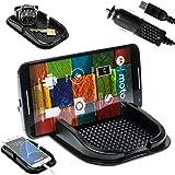mobilefox® KFZ Anti-Rutsch Matte integr. Handy Halterung + Ladekabel SET für Motorola Moto G/E/X - Rutschfestes Auto Halter Pad