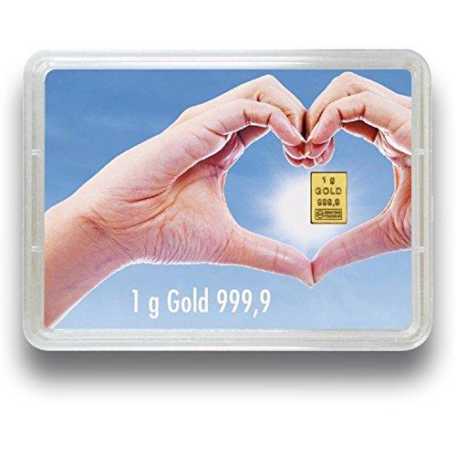 Goldbarren Goldene Zukunft - 1 Gramm 999.9 Feingold - Flipmotiv Goldene Zukunft - Goldgeschenk (1 Gramm Silberbarren)