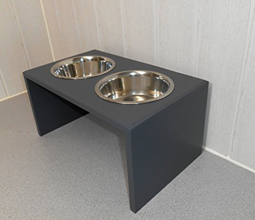 Futternapf / Hundenapf für Ihren Vierbeiner, tolle Futterbar mit 2 Edelstahlnäpfen mit je 2400 ml. Handgefertigtes Hundezubehör und Tierbedarf. Lackierung in Anthrazit ! (89p72dc)