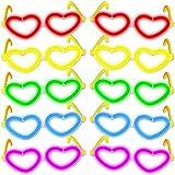 10 occhiali luminosi, con lenti a forma di cuore, in vari colori