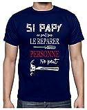 Papy Peut Tout réparer Humour Bricoleur Grands Pères T-Shirt Homme XX-Large Marine