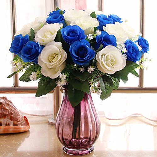 Mesmj Artificial Flowers Creative wedding Bouquets Decorated Dining Table, Blue And White Rose Purple Tinted Glass Vase