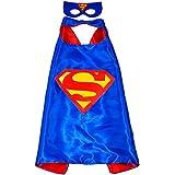 Superman Superhéroes de disfraces para niños–Cape y máscara–Juguetes para niños y niñas–Disfraz para niños de 3a 10años–para Fasching o temática de fiestas. Mungo–King–kmsc008