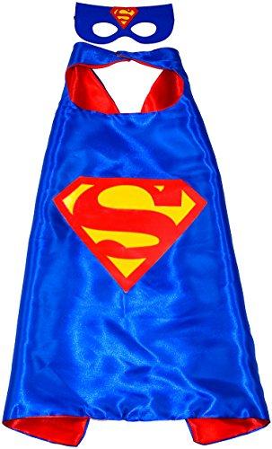 Superman Superhelden-Kostüme für Kinder - Cape und Maske - Spielsachen für Jungen und Mädchen - Kostüm für Kinder von 3 bis 10 Jahre - für Fasching oder Motto-Partys! - King Mungo - KMSC008