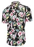 Dioufond Aloha Hawaiian Hommes Chemises à Fleurs Manches Courtes Décontracté (L Noir)