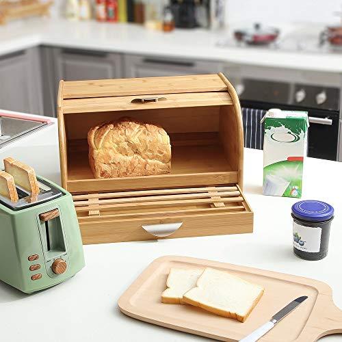 Decopatent Brotkasten aus Bambus - Brotkasten aus Holz mit Schiebedeckel und integriertem Schneidebrett