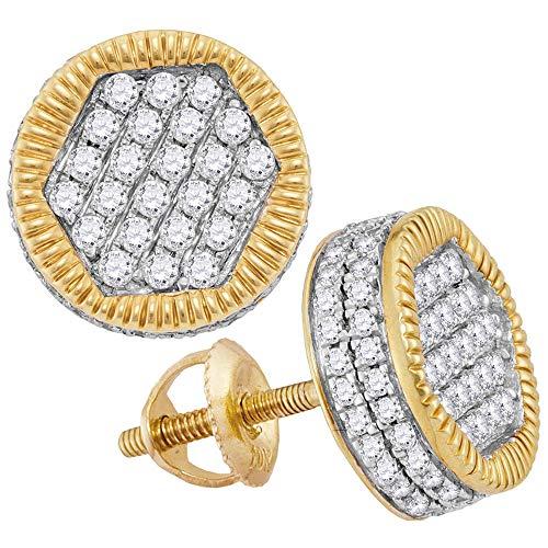 9bc1fdcc132e Jewels by Lux - Pendientes de oro amarillo de 10 quilates para hombre con  círculo de