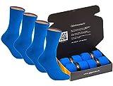 gigando | colorful Baumwoll-Socken | kräftige Farben für Damen und Herren | Hand gekettelt | extra feines Maschenbild | trendige unifarbene Strümpfe | 4 Paar | blau | 39-42 |