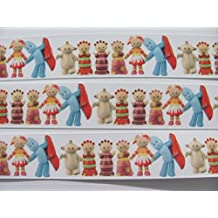 "25mm 1"" In the night garden grosgrain ribbon featuring Igglepiggle Upsy Daisy Makka Pakka and the Tombliboos printed Cartoon Ribbon - Cakes Dummy Hair Gift Wrap and Crafts sold by the Yard"