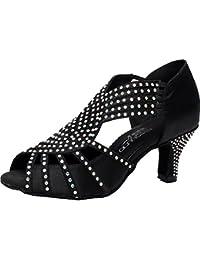 9571d4f08a2e CFP JJ-6173 Womens Latin Tango Salsa Ballroom Party Wedding Peep-Toe Kitten  Heel