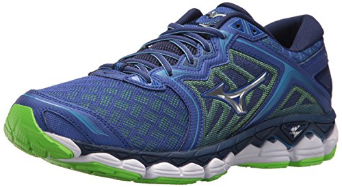 Mizuno Men's Wave Sky Running Shoes, surf The Web-Silver, 9.5 D US