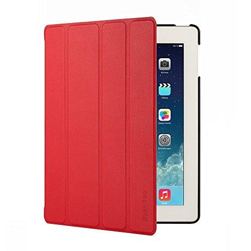 EasyAcc Gold iPad 4 Hülle Schutzhülle Etui Tasche für Apple iPad 2/3/4 Smart Case Cover mit eingebautem Magnet für Einschlaf/Aufwach - Red