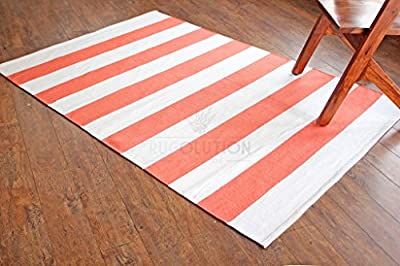 Peach Pink Plain Stripe Cotton Rugs. Flat Weave Revesable Indian Rug, 100% Pure Cotton. Size Multiple - inexpensive UK light store.