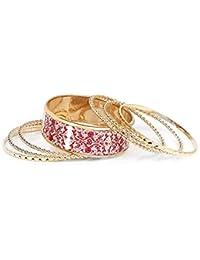 Johareez Multicolour Gold Plated Bangle Set Of 7 Pcs For Women