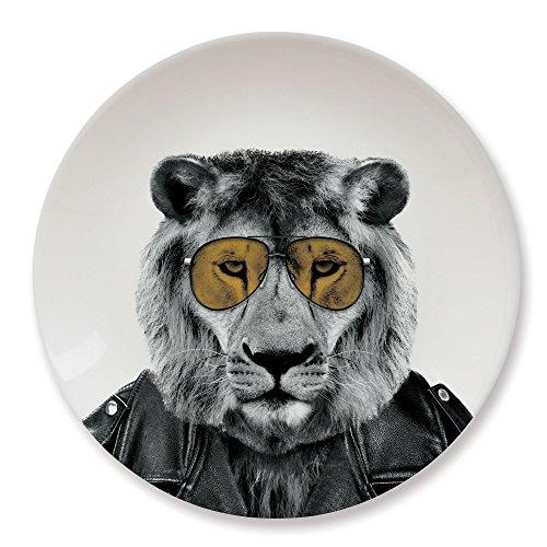 MUSTARD - Wild Dining Lion Dinner Plate I Keramik Teller I 100% Keramik I Runder Essteller I besonders I lustiger Speiseteller I Teller mit Tierprint I Geschenkidee für Studenten - Larry Löwe Design Teller