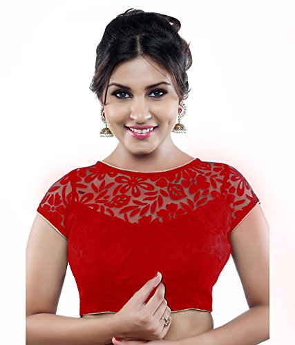 Minimall Women's Brasso & Net A-Line Saree Blouse (Mmb1001-09_Red_Free Size)