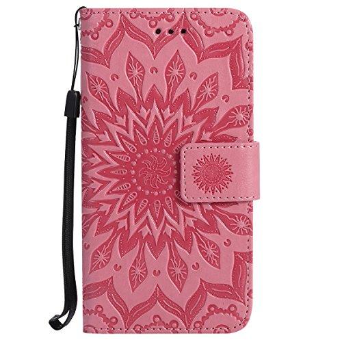 Uposao Compatible avec Huawei P7 Coque Cuir PU Soleil Fleurs Mandala Motif Folio Flip Case Cover Pochette Portefeuille à Rabat Magnétique porte-cartes Étui Housse de protection