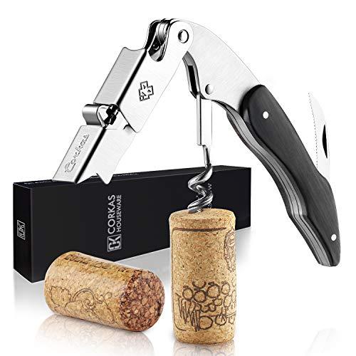 CORKAS Kellnermesser - multifunktionaler Korkenzieher mit Natur Ebenholzgriff - Weinöffner & Flaschenöffner für Kellner & Barkeeper