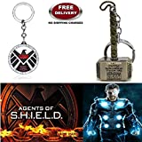 (2 Pcs AVENGER SET) - AGENTS OF S.H.I.E.L.D & THOR HAMMER (GOLD) IMPORTED KEYCHAINS. LADY HAWK DESIGNER SERIES 2018. ❤ ALSO CHECK FOR LATEST ARRIVALS - NOW ON SALE IN AMAZON - RINGS - KEYCHAINS - NECKLACE - BRACELET & T SHIRT - CAPTAIN AMER