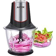 Aicok Tritatutto in Vetro, 300W Mini Tritatutto, Mini Frullatore Tritatutto con 4 Lame in Acciaio Inox, BPA free, Tritatutto per cucina con recipiente da 1,2L per Frutta, Verdura, Carne, Spezie, Rosso