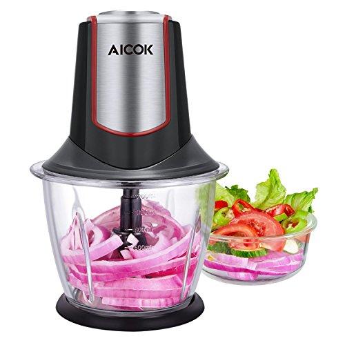 Aicok Picadoras de Carne 1.2L Picadora Electrica, Picadora con 4 Cuchillas de acero inoxidable, Procesador de alimentos adecuado para Frutas, Verduras, Carne, Especias, Negro