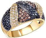Femme Bague Mariage Élégant 18K Plaqué Or Incrusté Zircon Cubique Cristal Hypoténuse Multicolore Crystal Or Taille 56.5 Noël Nouveau An -AnaZoz