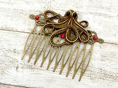 Peigne à cheveux steampunk avec pieuvre, accessoires pour cheveux anciens