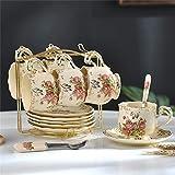 AOPT Juego De Tazas Taza De Té Juego De Tazas De Café De Cerámica Juego De Taza De Porcelana De Cerámica Y Plato Y Cuchara6 Tazas