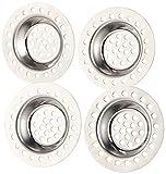 BadeStern Abflusssieb: 4er-Set Edelstahl-Abfluss-Siebe für Dusche, Badewanne, Waschbecken (Haarfänger)