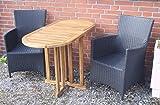 AMBIENTE-LEBENSART.DE Balkontisch-Teak-Klapptisch-Gartentisch-Beistelltisch Bistro-Tisch-Massiv-Holz Oval 120 x 60 x 75cm Gateleg-Table