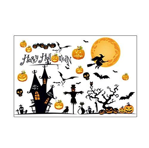 Nikgic Vintage Halloween Thema Muster Entfernbare Wandtattoo Wasserdichte Wandaufkleber Wandbild für Baby Zimmer Schlafzimmer Wohnzimmer Tür Fenster Wand Dekoration