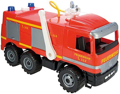 feuerwehrauto lena Lena 20101 - Starke Riesen Feuerwehr Mercedes Benz Actros, ca. 65 cm, großes Feuerwehrauto mit 3 Achsen, 1,5 Liter Wassertank, Wasserkanone bis 8 Meter, robustes Spielfahrzeug für Kinder ab 3 Jahre