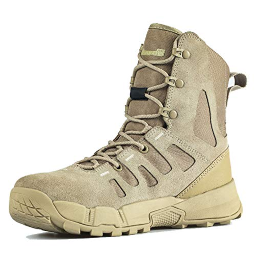 GOAIJFEN Herren Military leichte Combat Boot Wanderschuhe Hohe Leder Stiefeletten Outdoor Camo Off-Road Security Army Schuhe,Sand color-44 -
