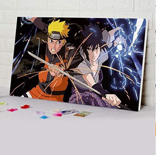 zykcmy Färbung Nach Zahlen Naruto Modulares Malen Japan Style Cartoon Anime Plakate Digitale Farbe Nach Zahlen DIY Digitale Malerei,40x50cm - Japan Anime-kunst-plakat