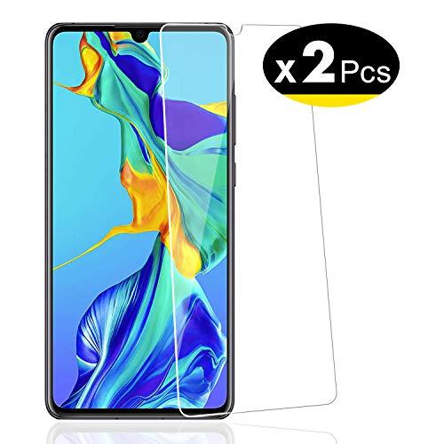 NEW'C Verre Trempé pour Huawei P30, [Pack de 2] Film Protection écran - Anti Rayures - sans Bulles d'air -Ultra Résistant (0,33mm HD Ultra Transparent) Dureté 9H Glass