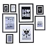 Conjunto de marcos para cuadros de madera de vidrio de alta definición para decoración de mesas y paredes en marcos de cuadros, marcos negros - juego de 8