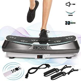ANCHEER Vibrationsgeräte Fitness JF-C04, Dual-Motoren Vibrationsplatte Oszillierend mit 3D Wipp Vibrations, einmaligen Curved Design, Color Touch Display, inkl. Trainingsbänder + Fernbedienung (Grau)