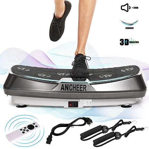 ANCHEER Vibrationsplatte JF-C04, Fitness 3D Dual-Motoren Vibrationsgeräte mit 3D Wipp Vibrations, einmaligen Curved Design, Color Touch Display, inkl. Trainingsbänder + Fernbedienung (Grau)