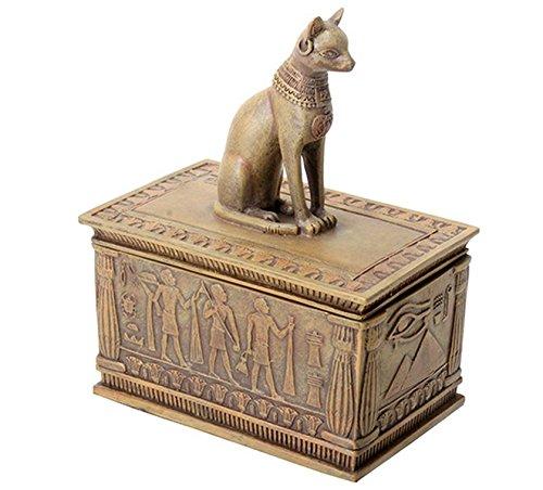YTC Summit International Ancient Egyptian Sandstone Bastet Cat Jewelry Trinket Box