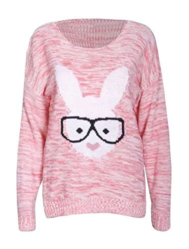sans marque Haute pour DIVA 'S NEUF pour femme geek lapin lunettes lapin slip taille basse Pull 36 - 42 Corail