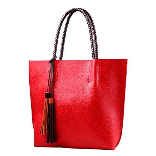 Frauen PU Leder Handtasche Quaste Mode Trend Umhängetasche Redwine