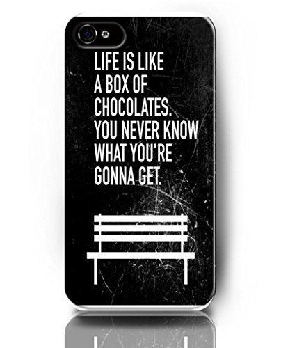 ukase Coques Skins de précieux Live citation pour Apple iPhone 5/4S avec le design de Banc Blanc-La vie est comme une boîte de chocolats. Vous ne savez jamais CE QUE VOUS êtes Gonna Ge
