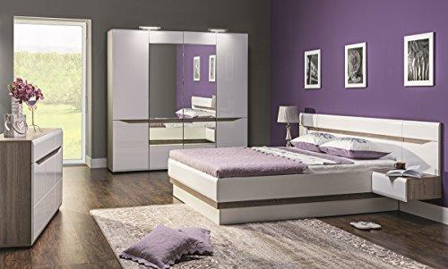 Schlafzimmer komplett LINN weiß hochglanz Set B Schrank 4-tür Soft-Close Bett 180x200 Nachtkonsolen Kommode NEU