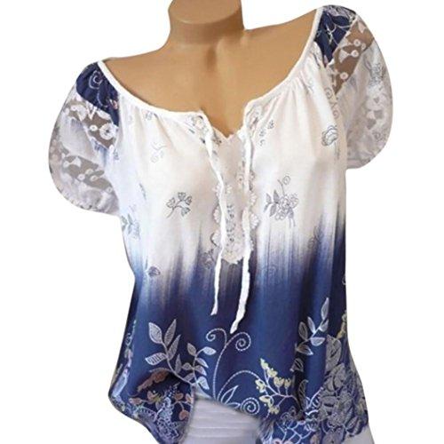 VJGOAL Damen T-Shirt, Damen Mode Kurzarm V-Ausschnitt Spitze Gedruckte Spitze Tops Sommer Lose T-Shirt Bluse (L/42, Weiß) (Rock, Top, Strumpfhose)