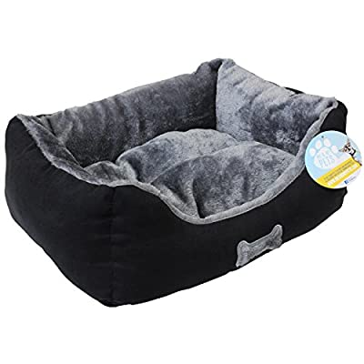 Me & My Black & Grey Small Super Soft Dog Bed - low-cost UK light shop.