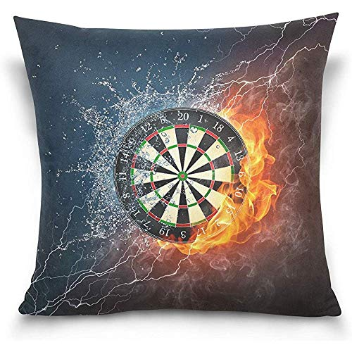 Alfreen Throw Pillow case, Throw Pillow Covers, Cushion Covers, Darts Board Throw Pillow Cover Cases, Square Decorative Pillow Covers, 18 X 18 Inches (Dart Cover Board)